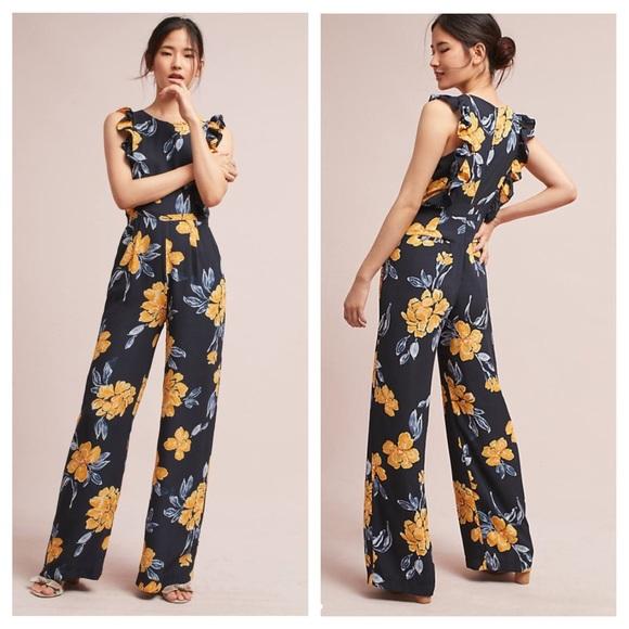 ea9dfa0b6d2 RARE anthropologie   floral ruffle sleeve jumpsuit